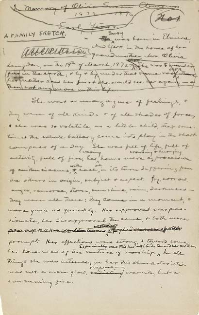 Page 1 of the Mark Twain manuscript <i>A Family Sketch</i>, Sotheby's lot 520, June 17, 2010