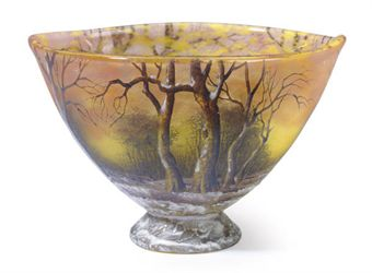 Daum Nancy winter scenic footed bowl, Christie's New York, lot 217, July 22, 2010