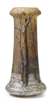 Daum Nancy winter scenic vase, Christie's lot 216, July 22, 2010