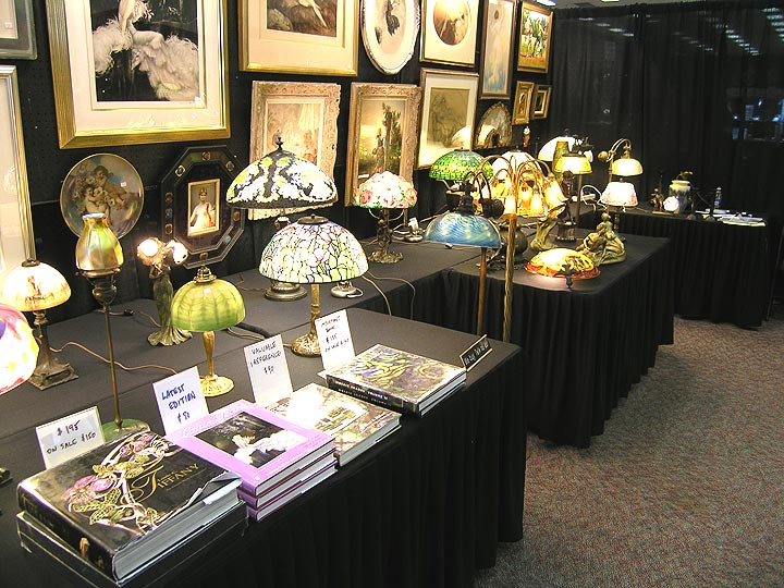 A view of some of the lamps in my booth at the Denver Antiques Show
