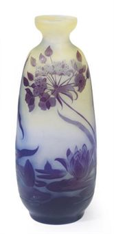 Galle water lily vase, 11¾ inches, Christie's lot 207, July 22, 2010