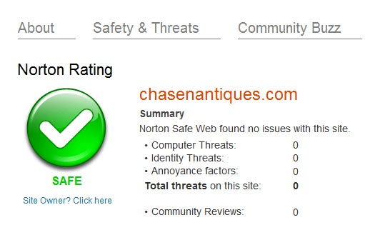 Norton Safeweb evaluation of chasenantiques.com