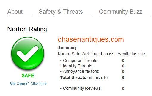 Norton Safeweb evaluation of chasenantiques.com