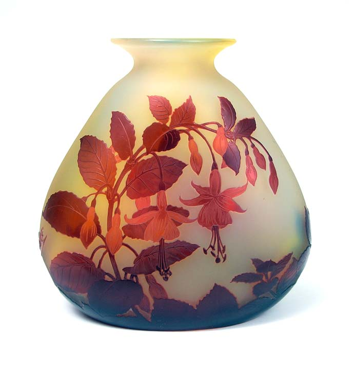 Fine Galle vase with red fuchsia on a flattened triangular shape