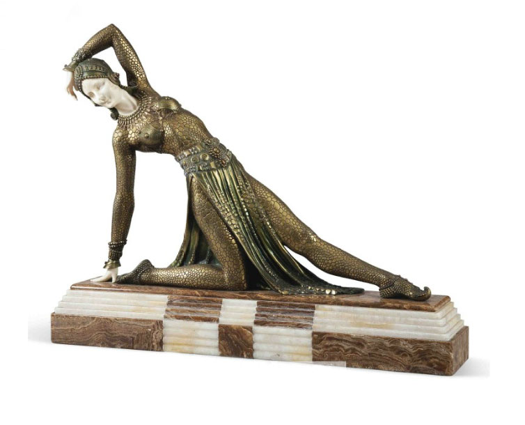 Demetre Chiparus bronze and ivory Exotic Dancer scu