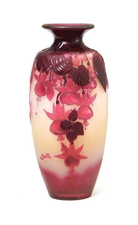 Gallé pink Fuchsia blownout vase