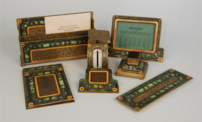 Tiffany Studios green Art Deco desk set ... - Tiffany Studios Desk Sets Philip Chasen Antiques