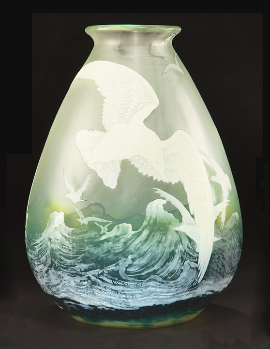 Incredible, sold, Gallé seagull vase -- one of the best I've ever owned