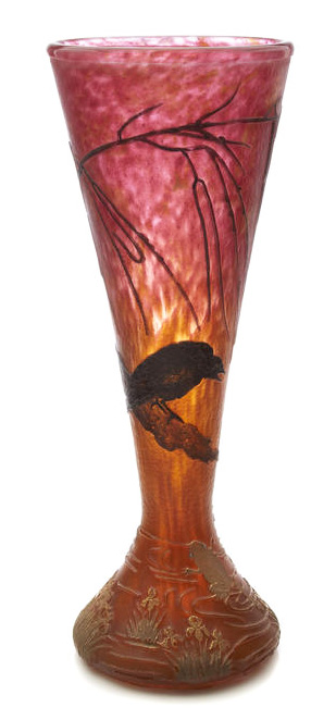 Daum Nancy Blackbird and Frog vase, Bonham's lot #2072