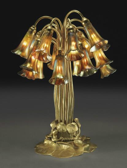 Tiffany Studios 18-light lily table lamp, Christie's lot #31