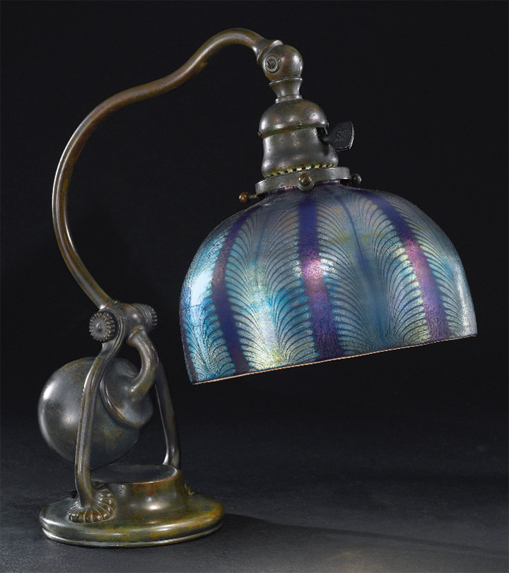 Tiffany 7-inch diameter Favrile blue counterbalance table lamp, Sotheby's lot 333