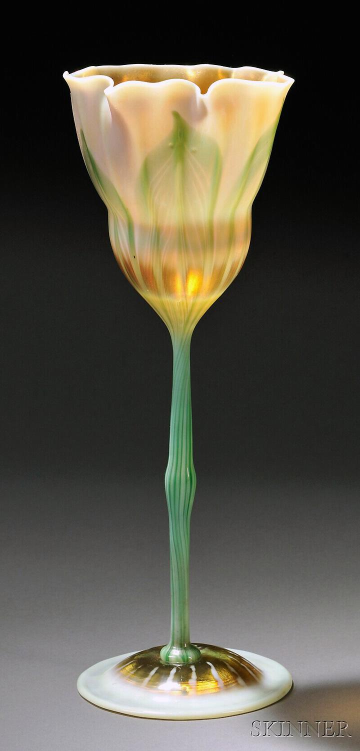 Fine Tiffany Favrile floriform vase sold for $9,000, Skinner lot #148