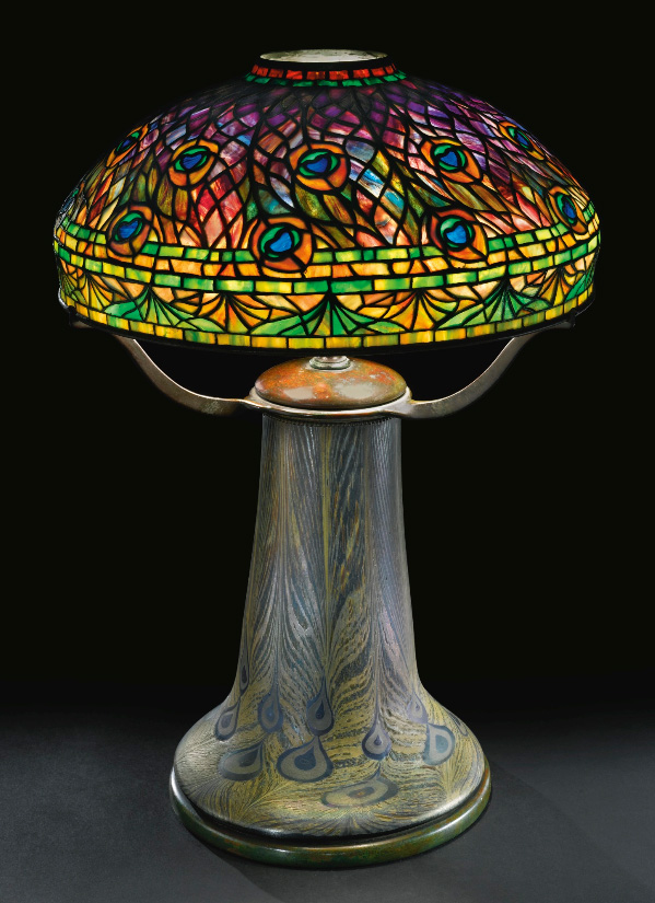 Good Tiffany Studios Peacock table lamp, Sotheby's lot #332