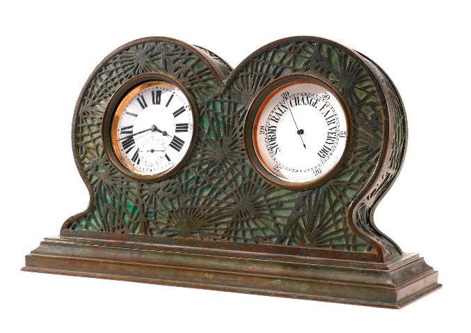 Ultra rare Tiffany Studios Pine Needle clock/barometer, Sotheby's lot #233