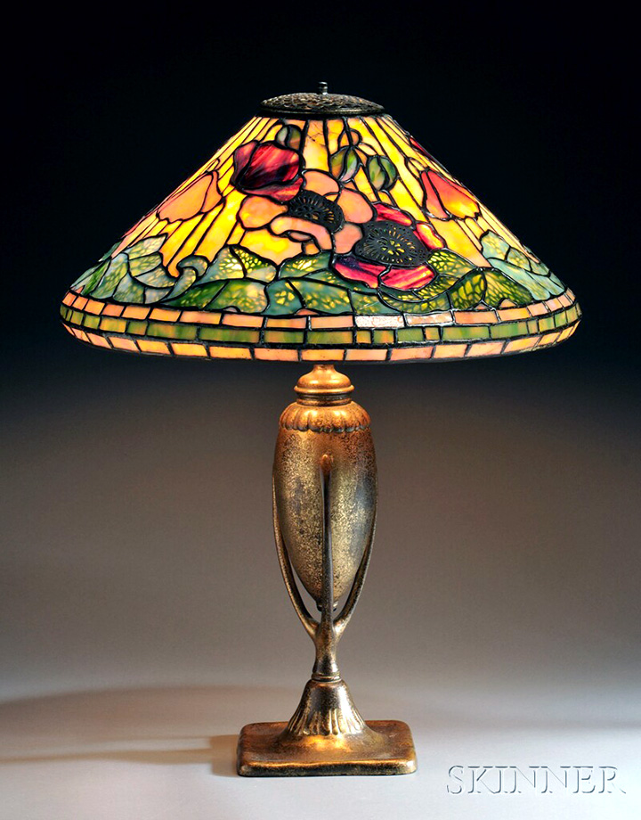 Tiffany Studios 17-inch diameter Poppy table lamp, Skinner lot #143