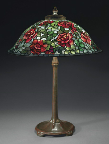 Tiffany Studios Rose table lamp, Christie's lot #3