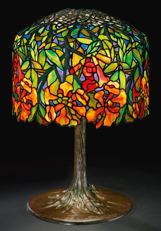 Tiffany Studios Trumpet Creeper table lamp, Sotheby's lot #331