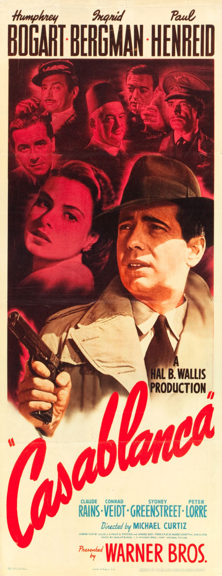 Casablanca movie poster insert, Heritage lot #83063