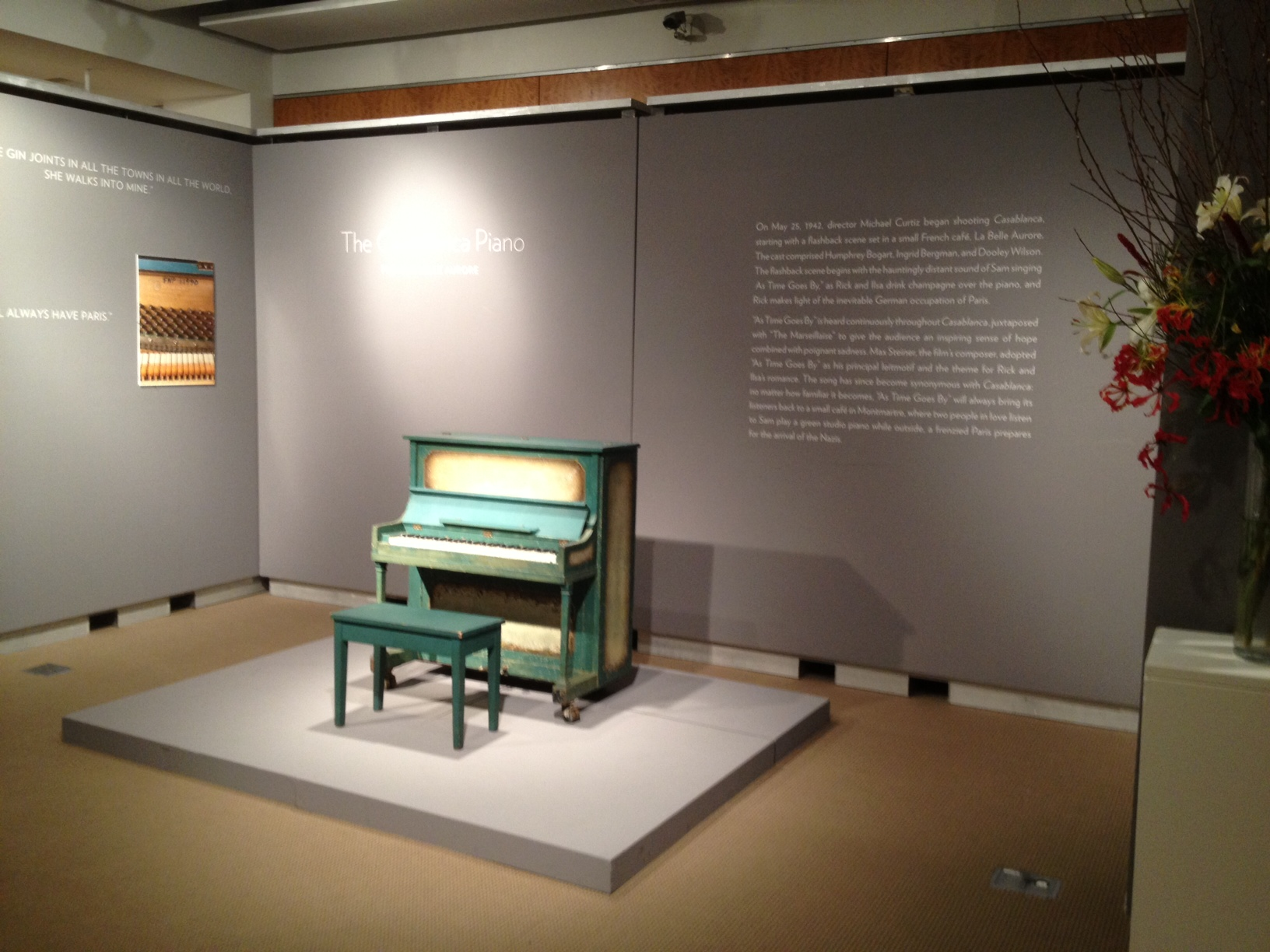 The piano and bench on display at Sotheby's