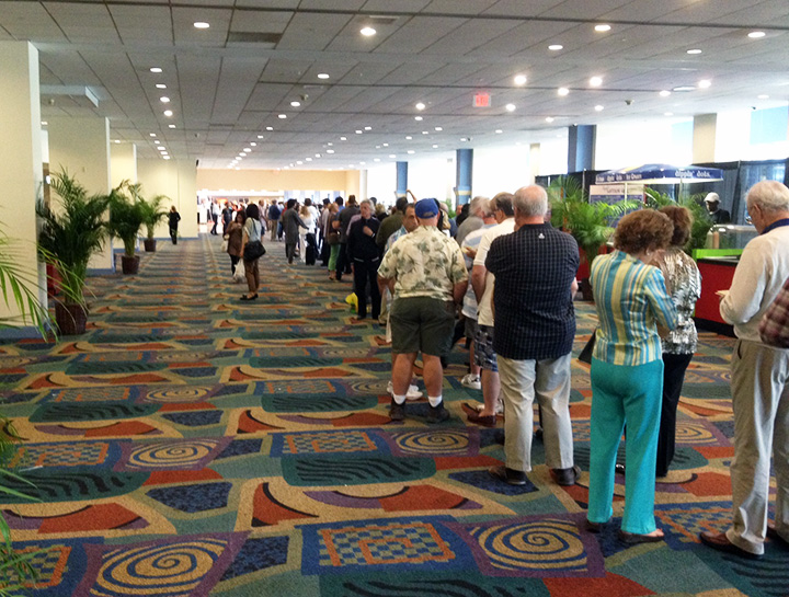 The line to get in was huge before a recent opening of the Original Miami Beach Antique Show