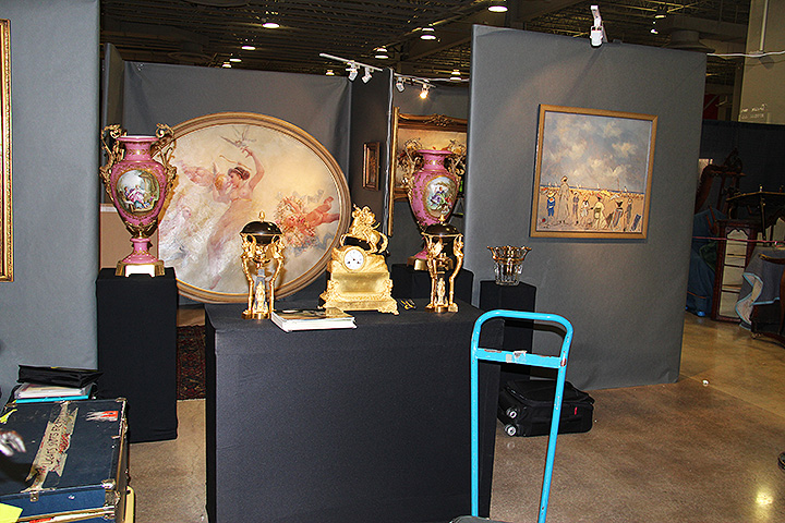 Toulouse Antiques is almost finished setting up with their superb paintings