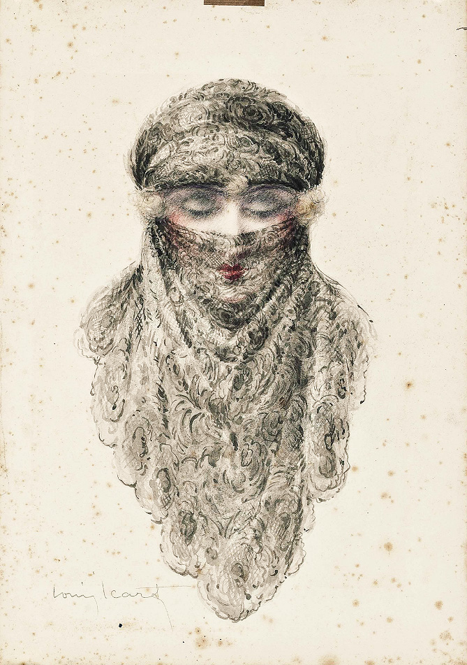 Icart Femme Voilée, Christie's lot #473