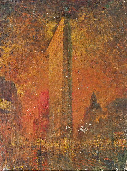 Icart oil painting of the Flatiron Building in New York, Christie's lot #464