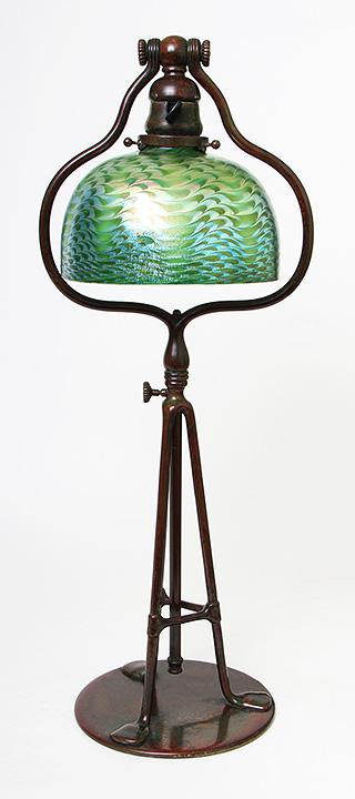 Fabulous, rare, Tiffany Favrile lamp with intaglio-carved insect