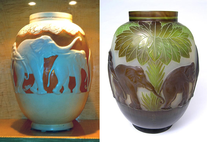 Galle white and brown Elephant mold-blown vases