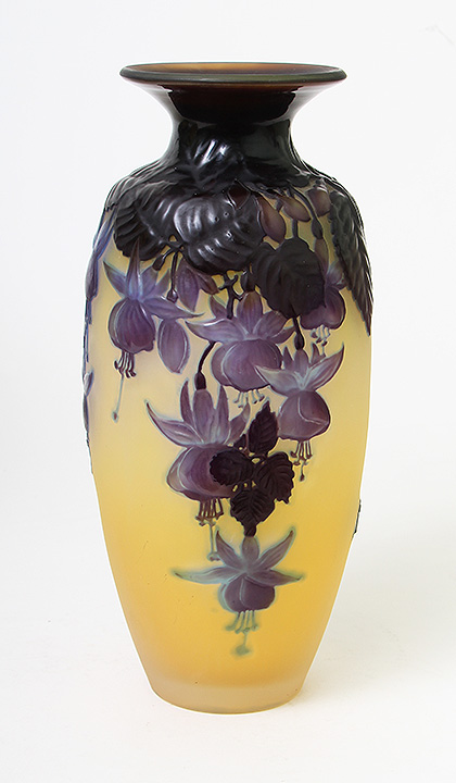 This superb Galle fuchsia blownout vase has great color and just arrived yesterday