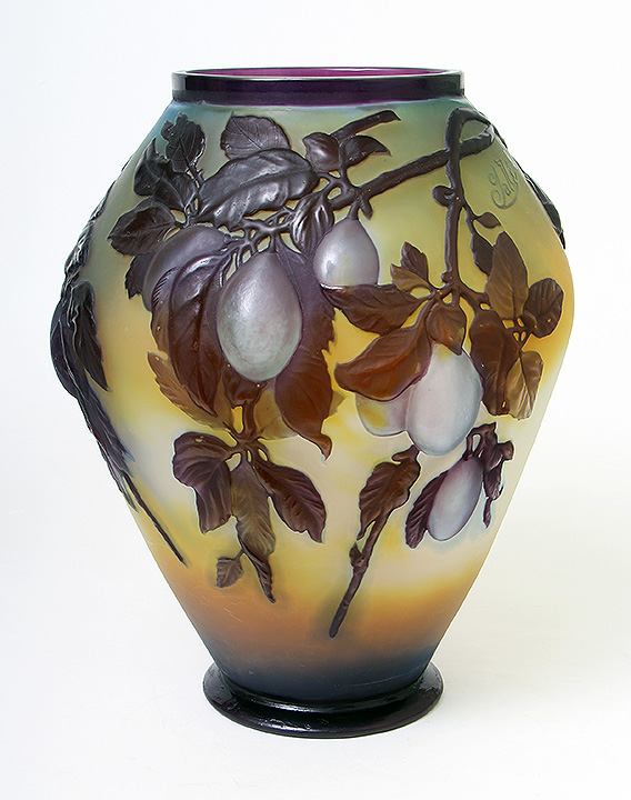 Fine Galle Plum blownout vase, just in