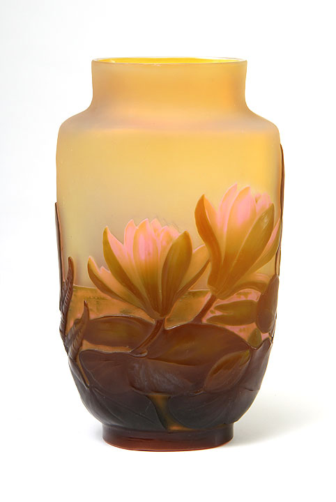 Fine, rare Galle Water Lily blownout vase, for sale on my website