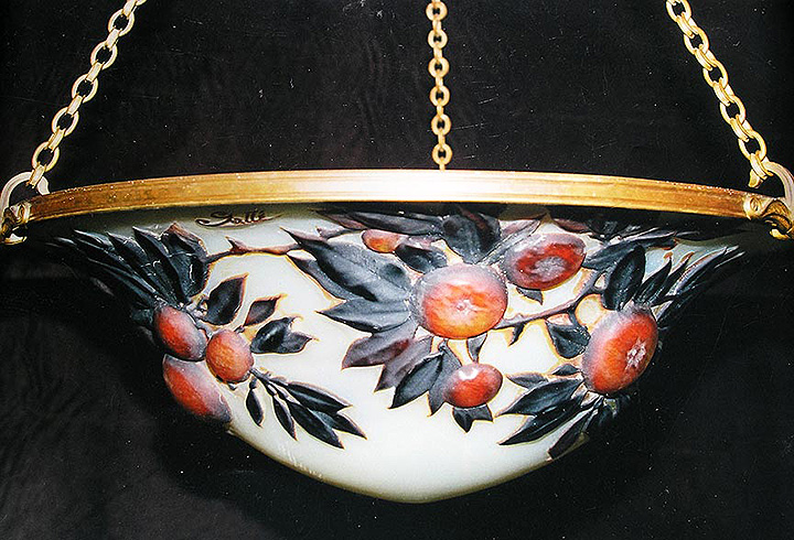 Very rare Gallé mold-blown chandelier with fruit decoration