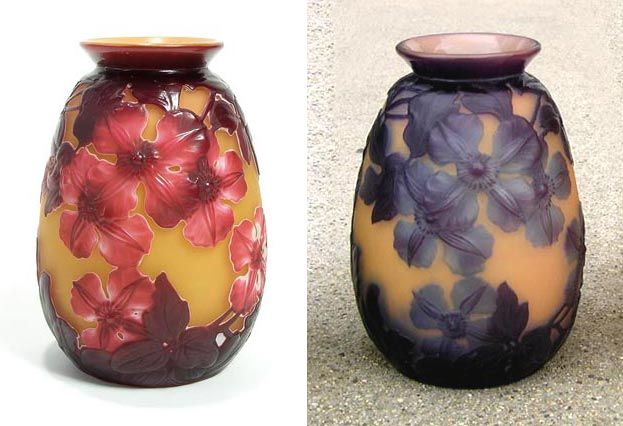 Two variations of Gallé's clematis blownout vase