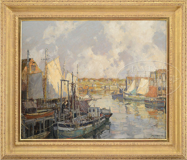 Frederick Mulhaupt painting Gloucester Gill Netters, Julia's lot #1010