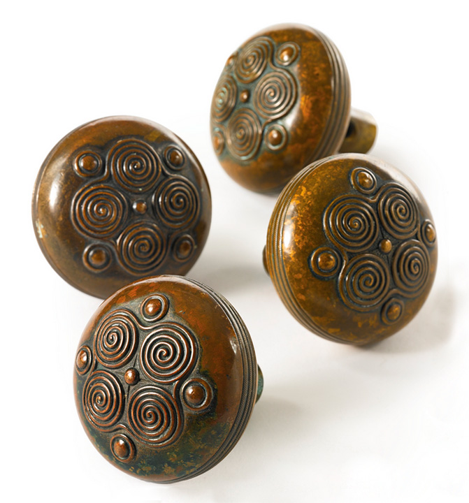 Original set of four Tiffany Studios door knobs, Sotheby's lot #1