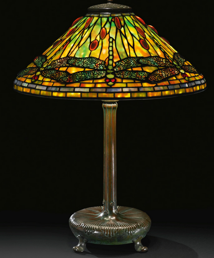 Fine Tiffany Studios Dragonfly table lamp, Sotheby's lot #28
