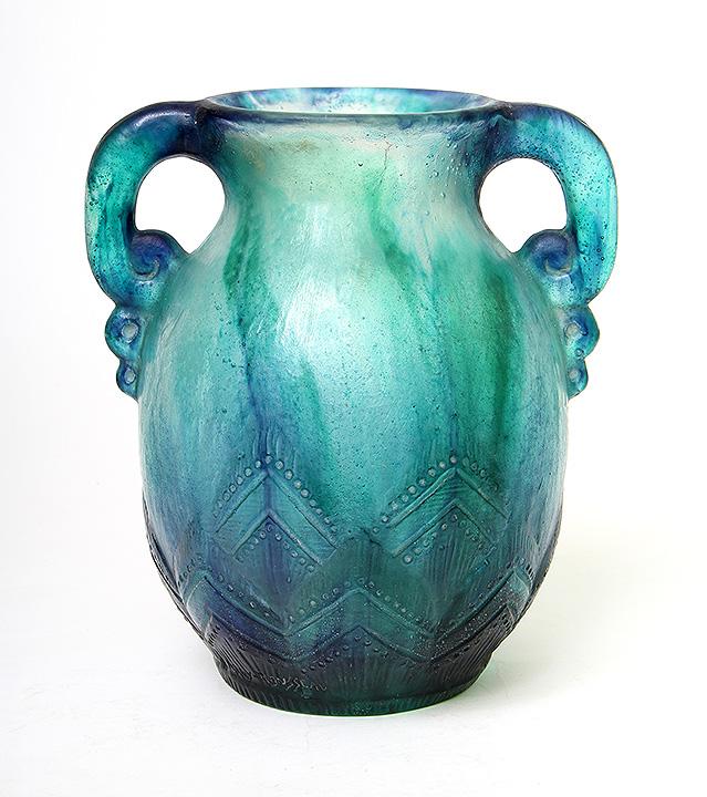 Fine Argy-Rousseau pate-de-verre geometric vase