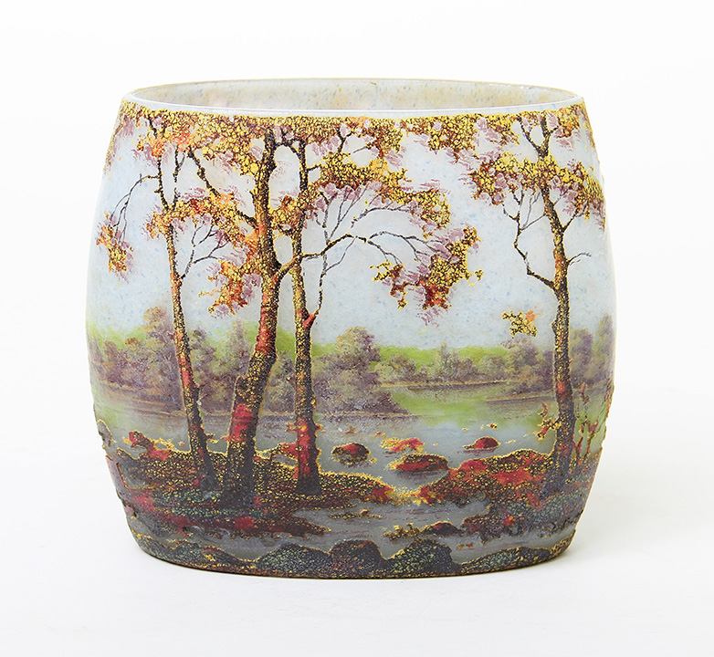 Vivid Daum Fall scenic pillow vase