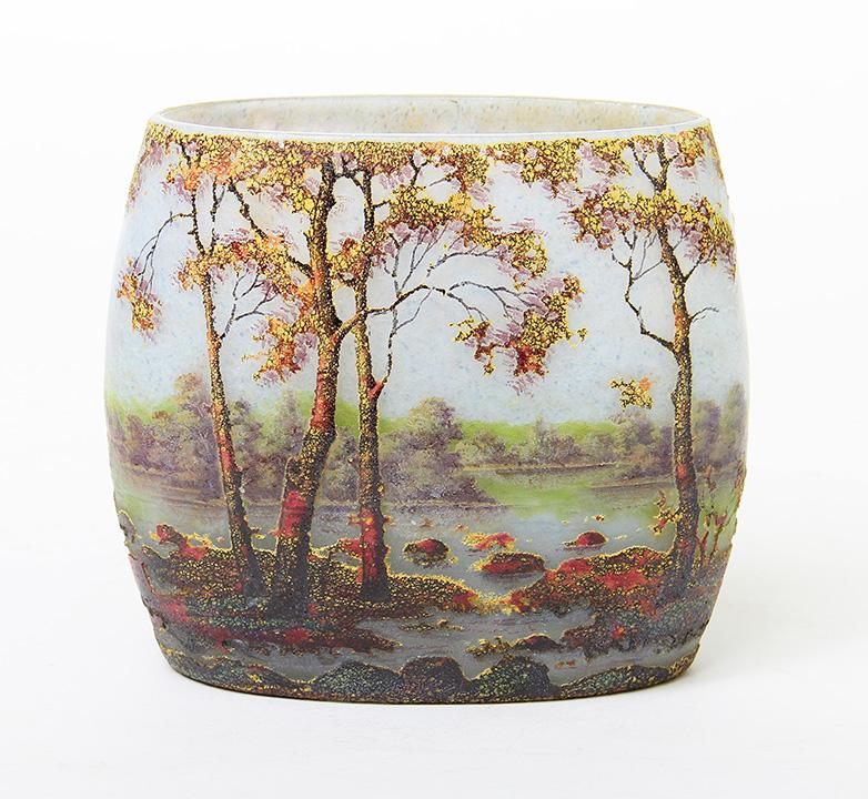 Vivid Daum Fall scenic pillow vase