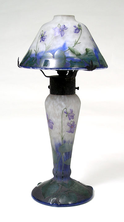 An important Daum Nancy lamp with violets