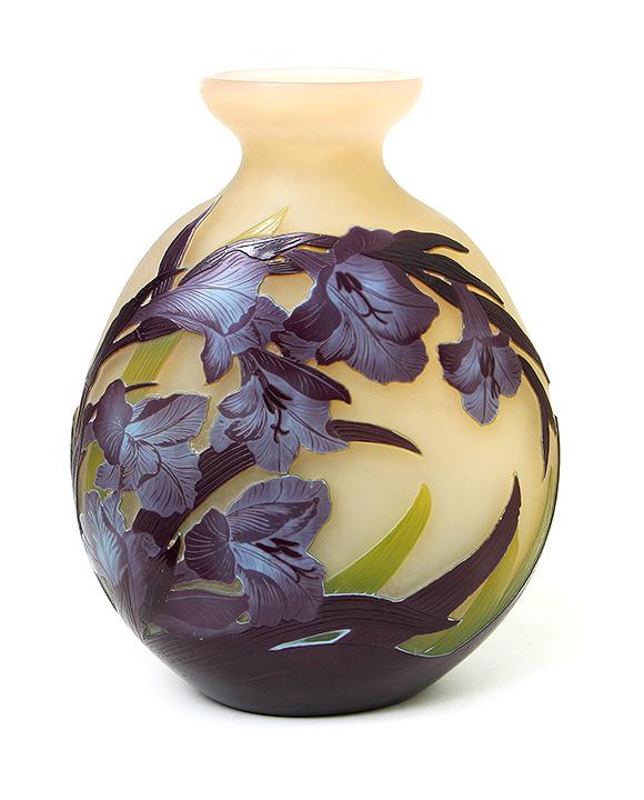 Gorgeous Gallé iris floral vase