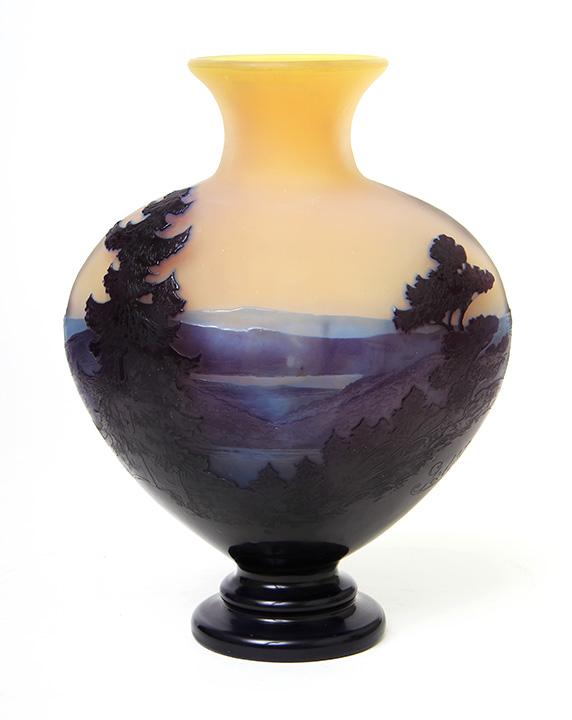 Powerful Gallé blue/purple scenic vase