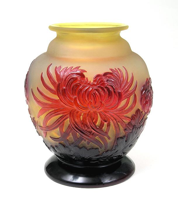Fine, rare Gallé chrysanthemum blownout vase