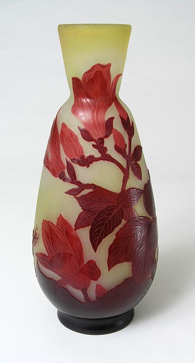 A lovely Gallé red  magnolia vase