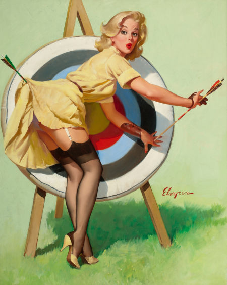 Gil Elvgren painting A Near Miss (Right on Target), Heritage lot #78081