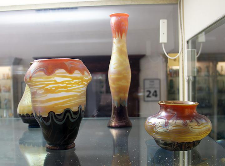 A selection of rare Loetz black bottom vases