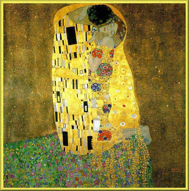Gustav Klimt painting, The Kiss