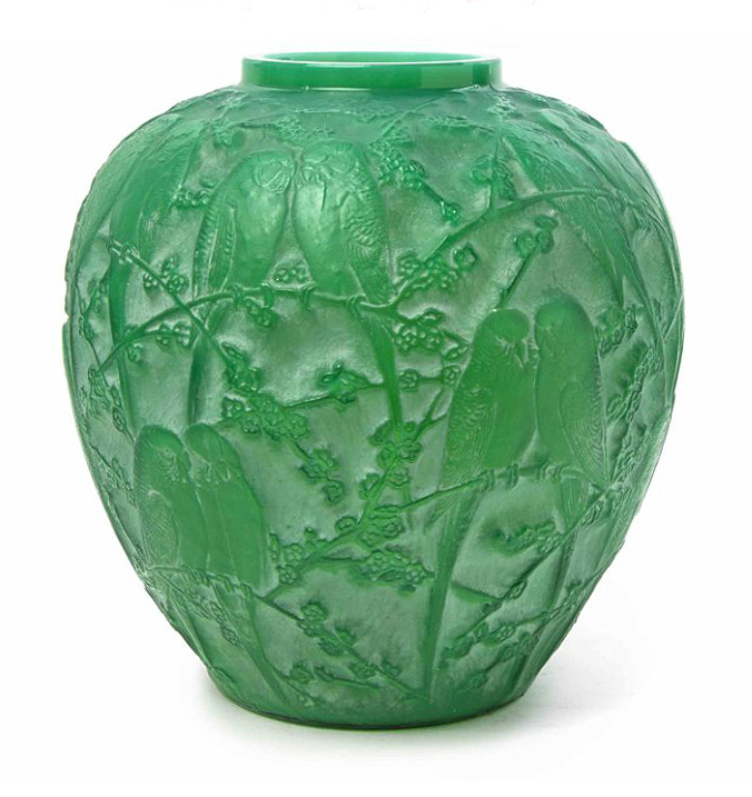 Rare R. Lalique green cased Perruches vase, Hindman lot #301