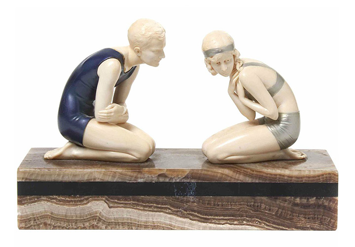 F. Preiss Art Deco bronze & ivory grouping, The Bathers, Hindman lot #333
